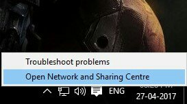 Opening Network And Sharing Centre
